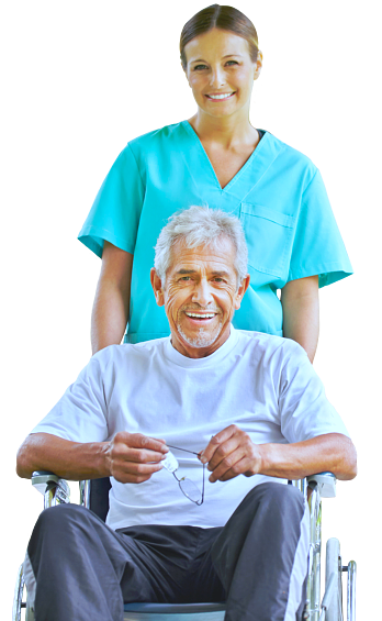 caregiver and disabled senior smiling