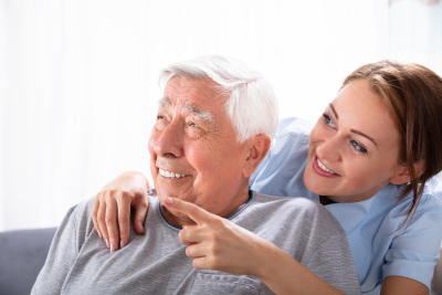 caregiver pointing at something