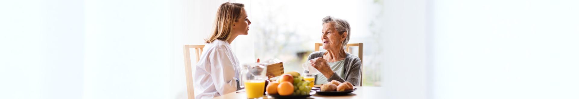 senior woman eating while talking
